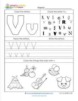 ABC Worksheets - Letter V - Alphabet Worksheets