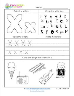 ABC Worksheets - Letter X - Alphabet Worksheets