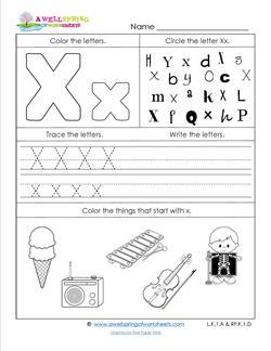 ABC Worksheets - Letter X - Alphabet Worksheets