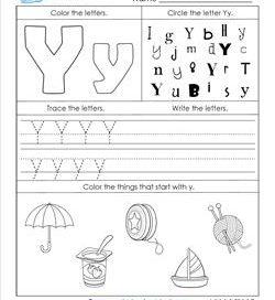 ABC Worksheets - Letter Y - Alphabet Worksheets