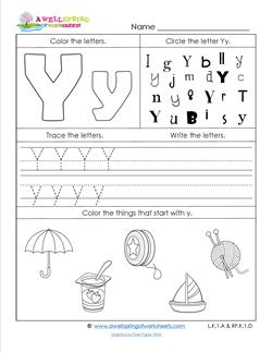 ABC Worksheets - Letter Y - Alphabet Worksheets