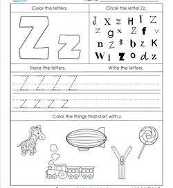 ABC Worksheets - Letter Z - Alphabet Worksheets