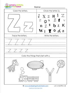 ABC Worksheets - Letter Z - Alphabet Worksheets