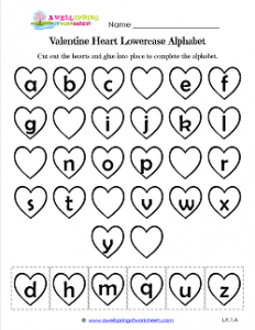 Valentine Heart Lowercase Alphabet Cut & Paste - Valentine Hearts Worksheets