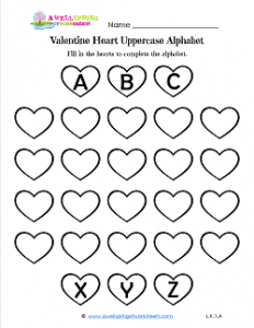Valentine Heart Uppercase- Valentine Hearts Worksheets