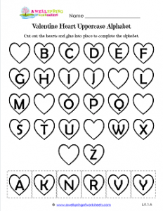 Valentine Heart Uppercase Alphabet Cut & Paste - Valentine Heart Worksheets