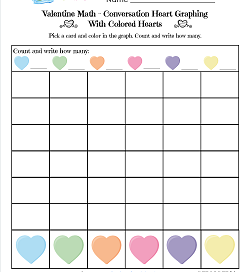 Valentine Math - Conversation Heart Graphing - Colors - Math Valentines