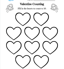 Valentine Counting - 10 Hearts - Valentine Math Worksheets