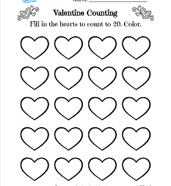 Valentine Counting - 20 Hearts - Valentine Math Worksheets