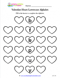 Valentine Heart Lowercase Alphabet - Valentine's Day Worksheet