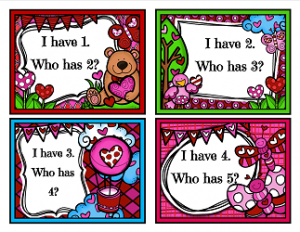 Valentine's Day Games - I Have Who Has - Counting to 10 - Valentine Day Worksheets