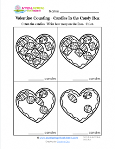 Valentine's Day Worksheets - Candies in the Candy Box - Valentine Math