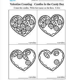 Valentines Day Worksheets - Candies in the Candy Box - Valentine Math