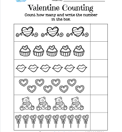 Valentines Day Worksheets - Valentine Counting
