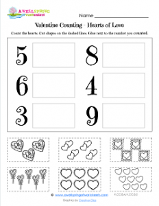 Valentine's Day Worksheets - Hearts of Love - Valentine Math