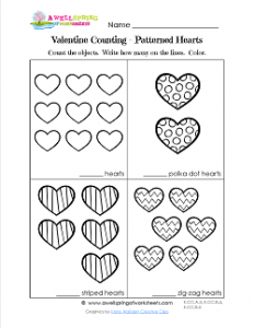 Valentines Day Worksheets - Patterned Hearts - Valentine Math