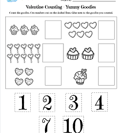 Valentines Day Worksheets - Yummy Goodies - Valentine's Math