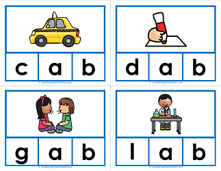 -ab words clip cards - cvc words - phonics