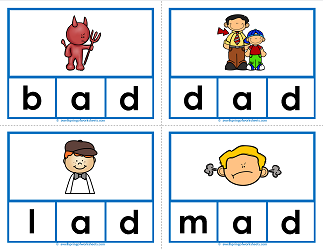 -ad words clip cards - cvc words - phonics