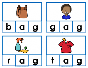 -ag words clip cards - cvc words - phonics