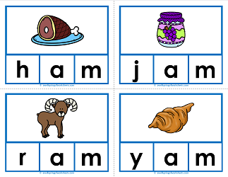 -am words clip cards - cvc words - phonics