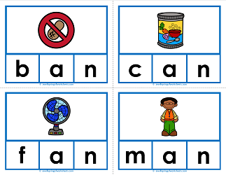 -an words clip cards - cvc words - phonics