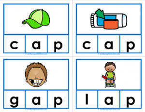 -ap words clip cards - cvc words - phonics