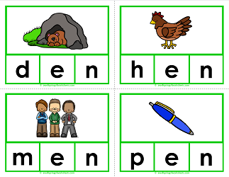 -en words clip cards - cvc words - phonics