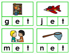 -et words clip cards - cvc words - phonics