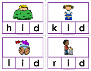 -id words clip cards - cvc words - phonics