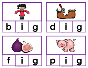 -ig words clip cards - cvc words - phonics