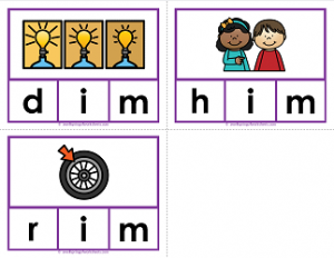 -im words clip cards - cvc words - phonics