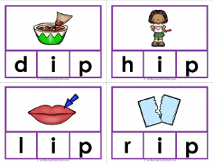 -ip words clip cards - cvc words - phonics