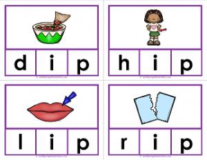 -ip words clip cards - cvc words - phonics