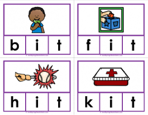 -it words clip cards - cvc words - phonics
