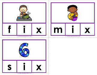 -ix words clip cards - cvc words - phonics