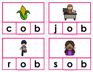 -ob words clip cards - cvc words - phonics