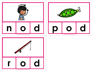-od words clip cards - cvc words - phonics