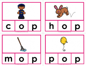 -op words clip cards - cvc words - phonics