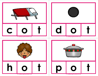 -ot words clip cards - cvc words - phonics