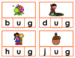 -ug words clip cards - cvc words - phonics