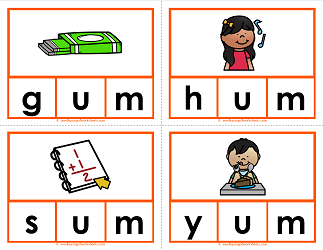 -um words clip cards - cvc words - phonics