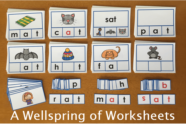 CVC Word Clip Cards - What's Included in Each Word Family - Example of the -at Word Family
