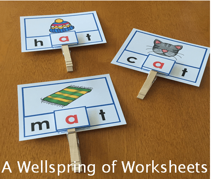 CVC Word Clip Cards - Pictures and CVC Words without the Letter that Makes the Short Vowel Sound