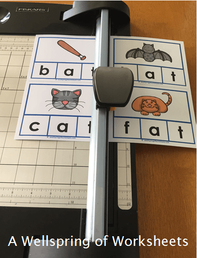 CVC Word Clip Cards - Cutting the Clip Cards