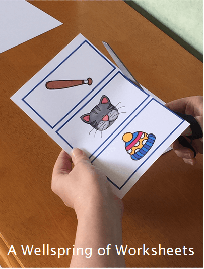 CVC Word Clip Cards - Cutting the Picture Cards