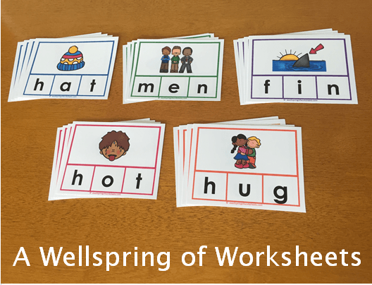 CVC Word Clip Cards - Color-Coded by Short Vowel