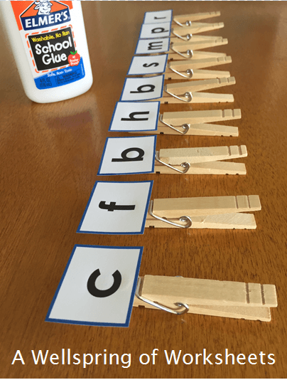 CVC Word Clip Cards - Gluing the Letters on the Clothespins