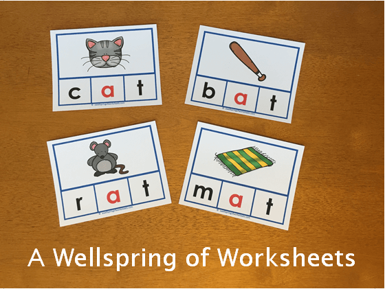 CVC Word Clip Cards - Pictures and Words with the Vowel in Red