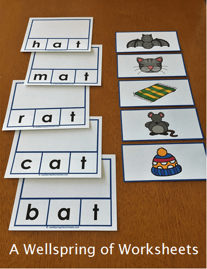 CVC Word Clip Cards - Short Vowel Sound Words Picture Match